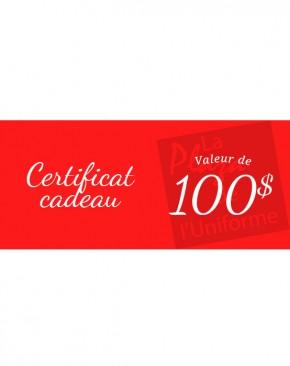 Certificat cadeau de 100$