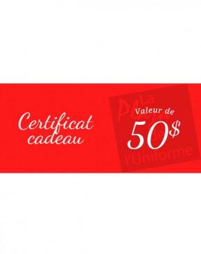 Choix 2 - Certificat cadeau de 50$